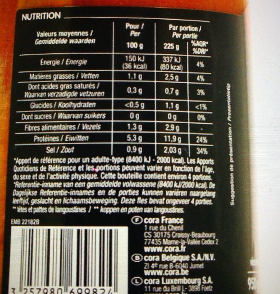 Soupe De Poisson et de langoustines au sel de guerande - Nutrition facts - fr