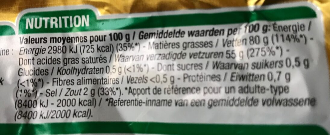 Beurre demi-sel - Nutrition facts - fr