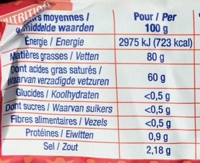 Beurre moulé de Bretagne demi-sel - Nutrition facts