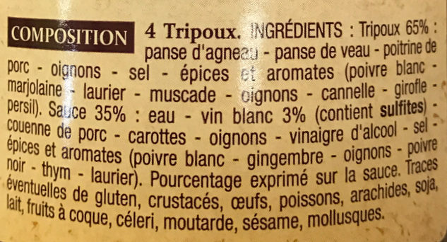 4 Tripoux d'Auvergne - Ingrediënten - fr