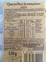 Quenelles lyonnaises - nature - Nutrition facts - fr