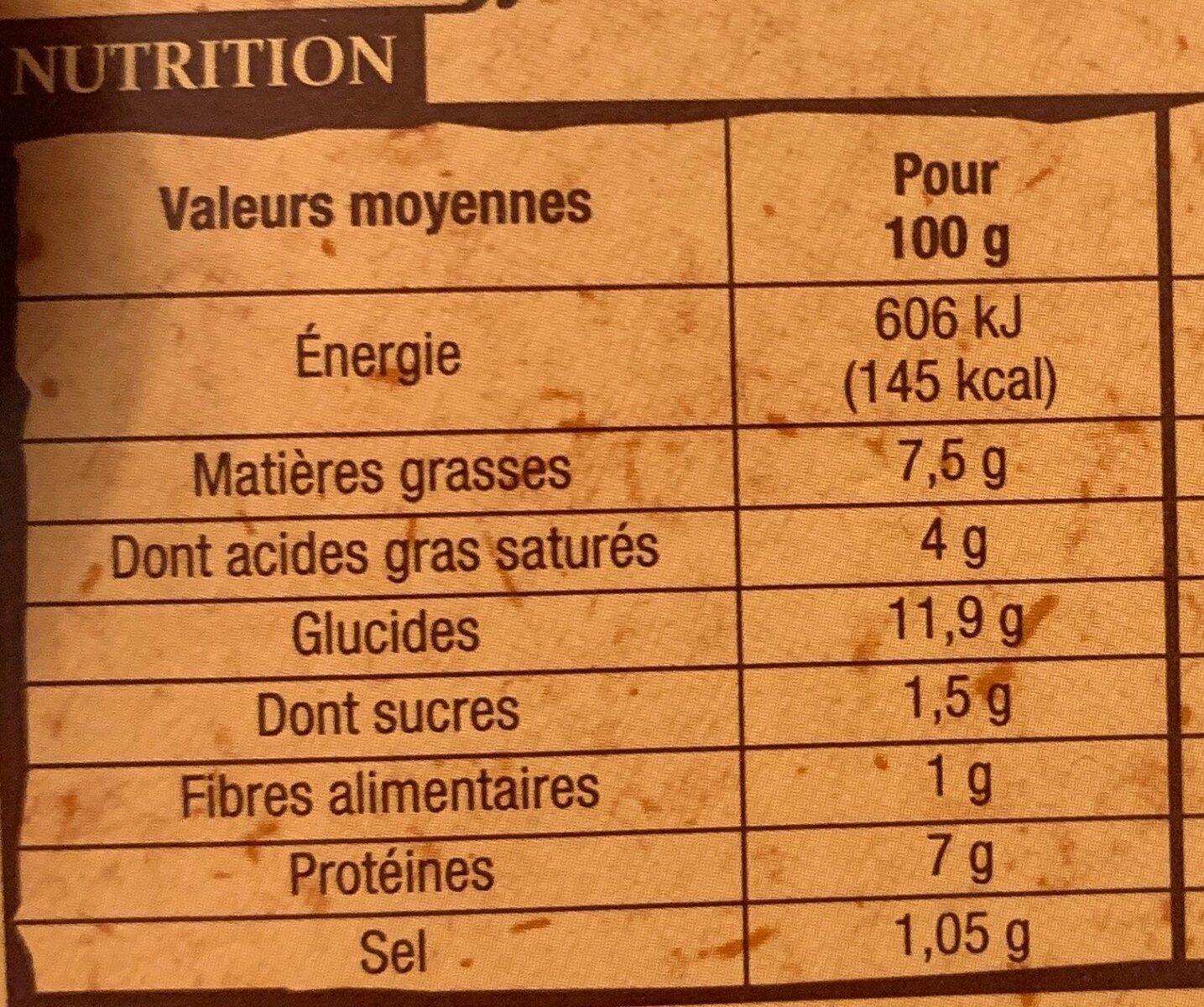 Ficelles Picardes - Nutrition facts