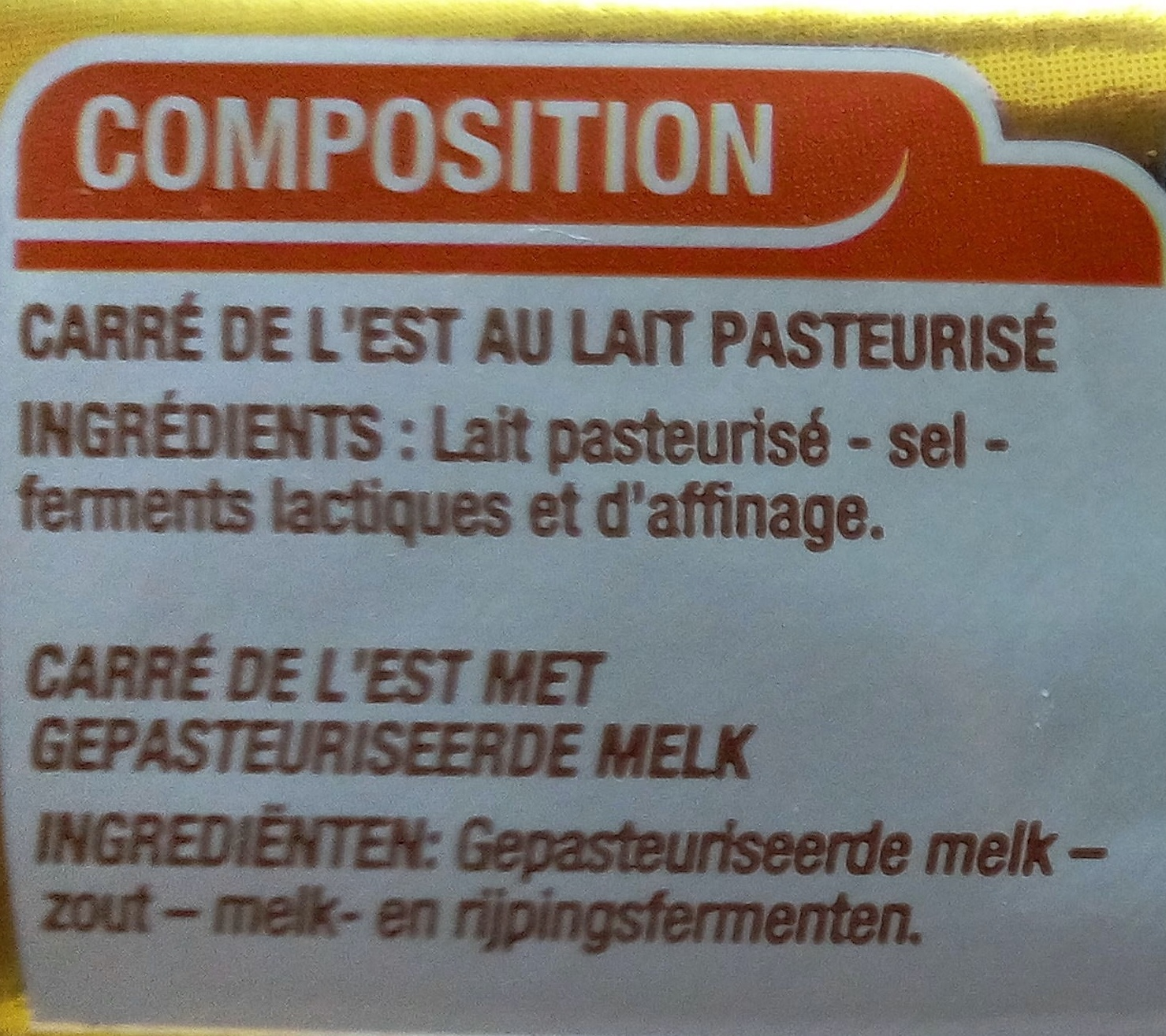 Carré de l'Est - Ingredients - fr