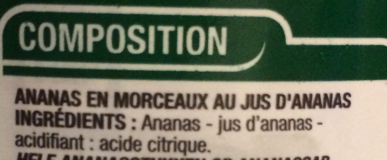 Ananas en Morceaux - Ingrédients