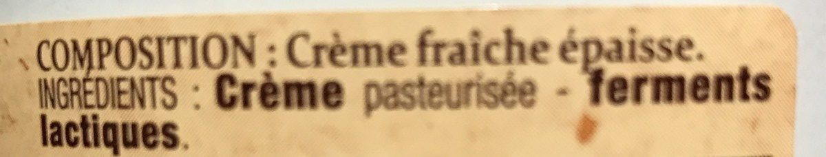 Crème d'Isigny - Ingredients