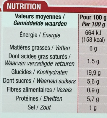 Crêpes Jambon Fromage - Nutrition facts - fr