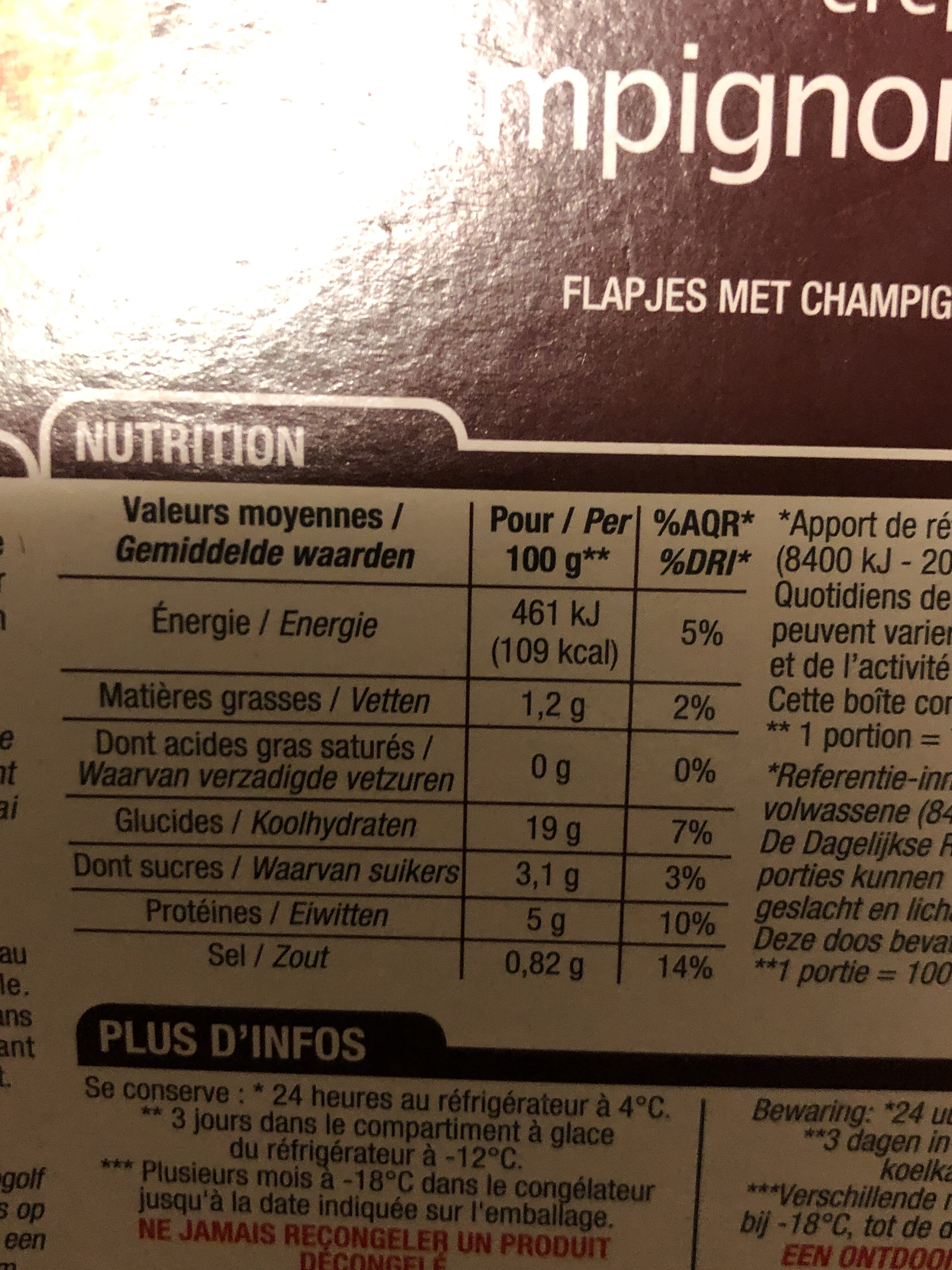 Crêpes Champignons - Voedingswaarden - fr
