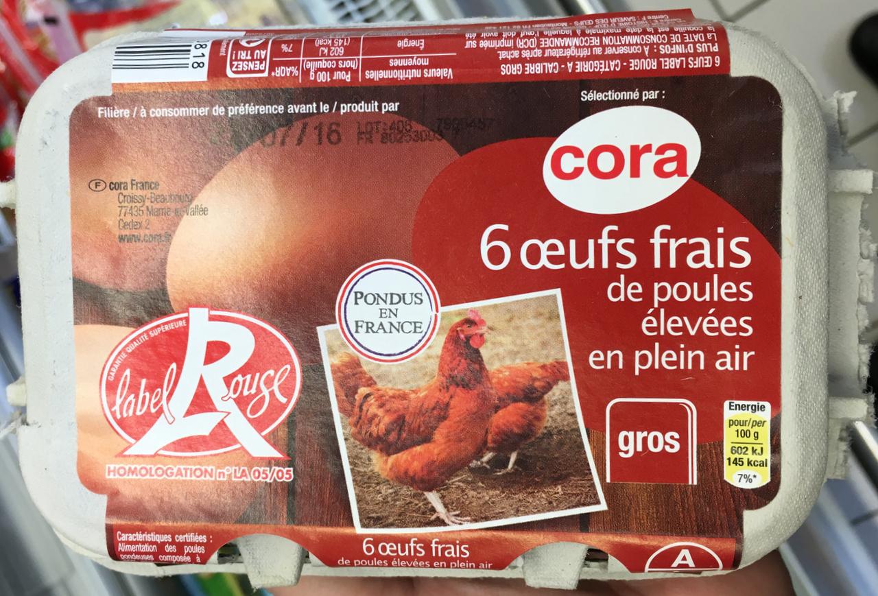6 oeufs frais de poules élevées en plein air gros - Product - fr