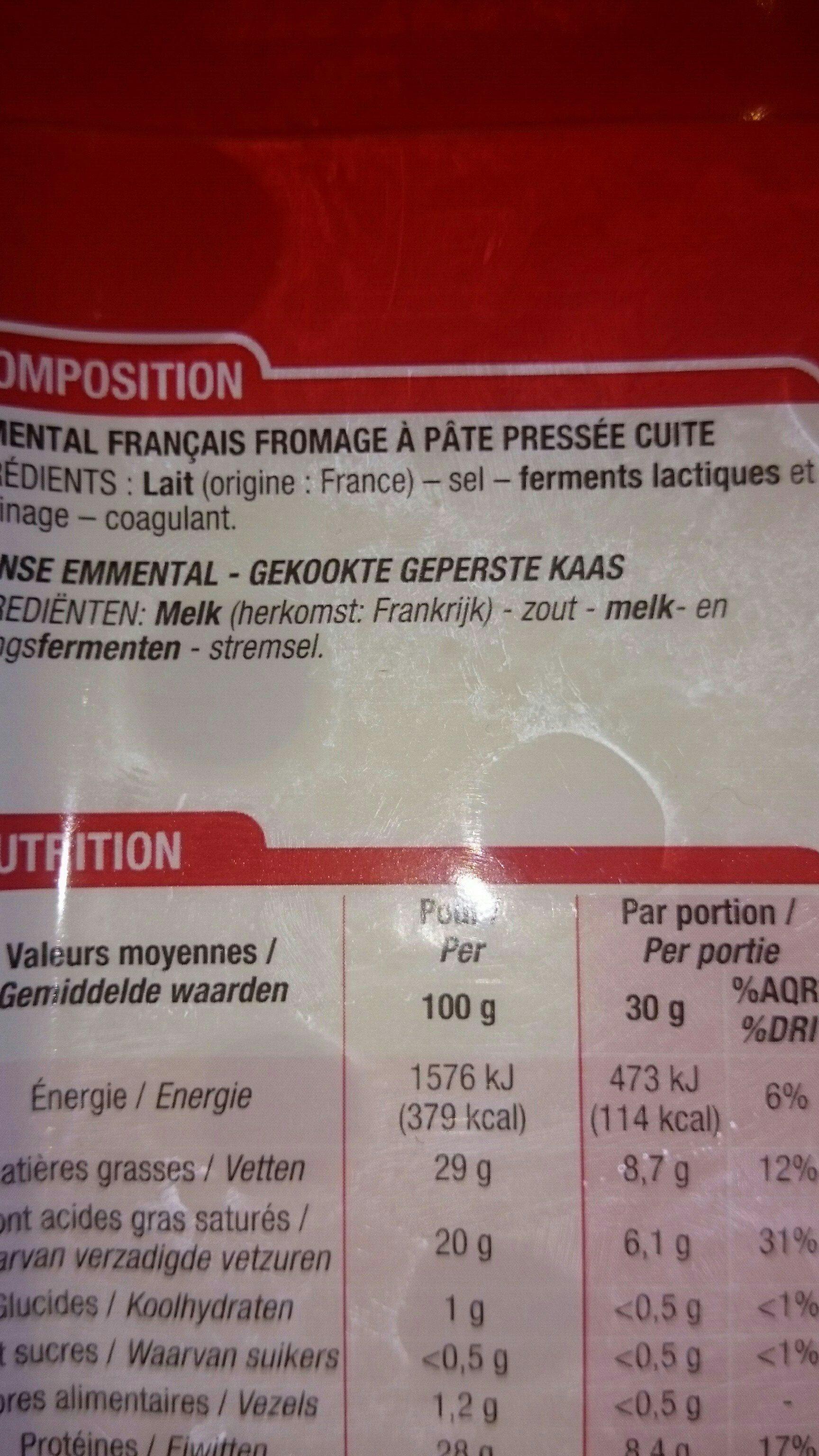 Emmental français - Ingrediënten