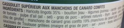 Cassoulet au confit de canard - Ingredients - fr