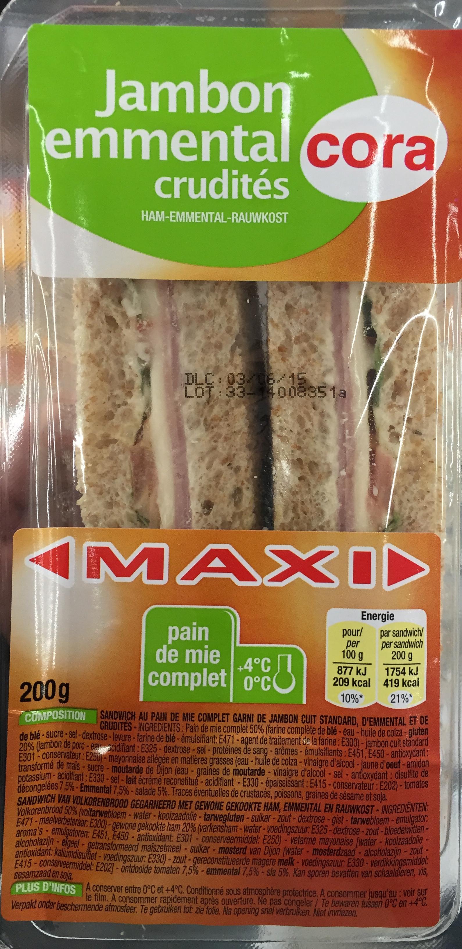 Jambon emmental crudités Maxi - Product