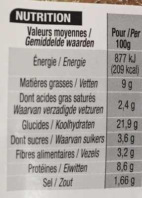 Jambon emmental crudités Maxi - Nutrition facts