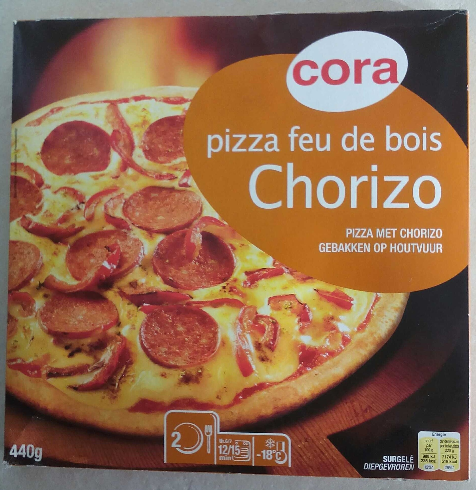 Pizza feu de bois Chorizo Cora 440 g # Pizza Feu De Bois Nancy