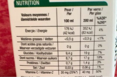 100% pur jus Orange - Nutrition facts - fr
