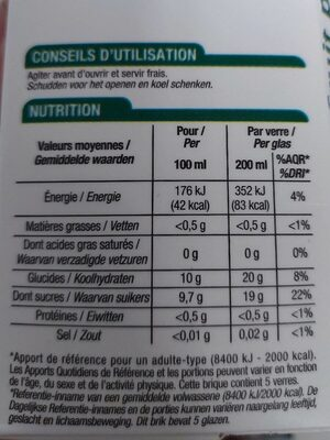 100% pur jus de pomme - Voedingswaarden - fr