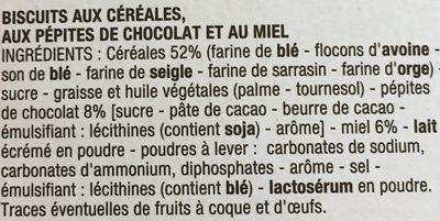 Biscuits pour le Petit déjeuner miel & chocolat - Ingrédients - fr