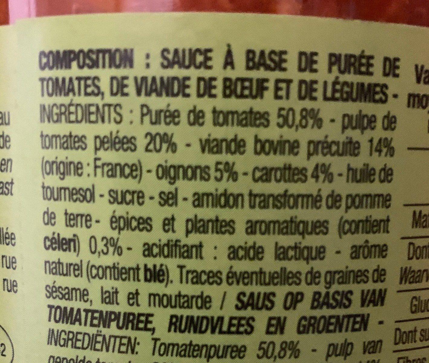 Sauce Tomate Bolognaise - Ingrediënten