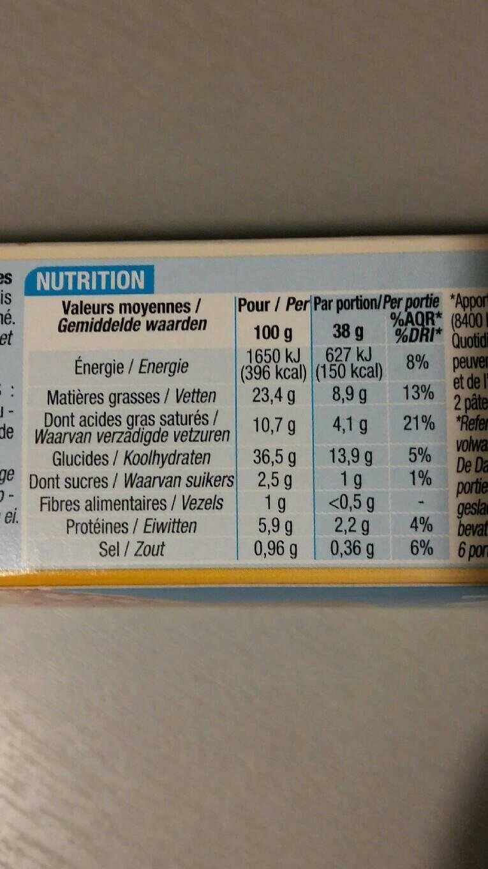 Pâtes feuilletées à dérouler - Informations nutritionnelles - fr