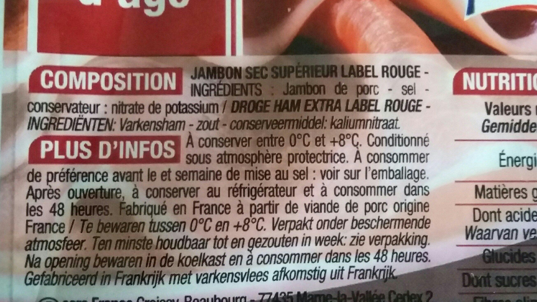 Jambon Sec supérieur - Ingredients - fr