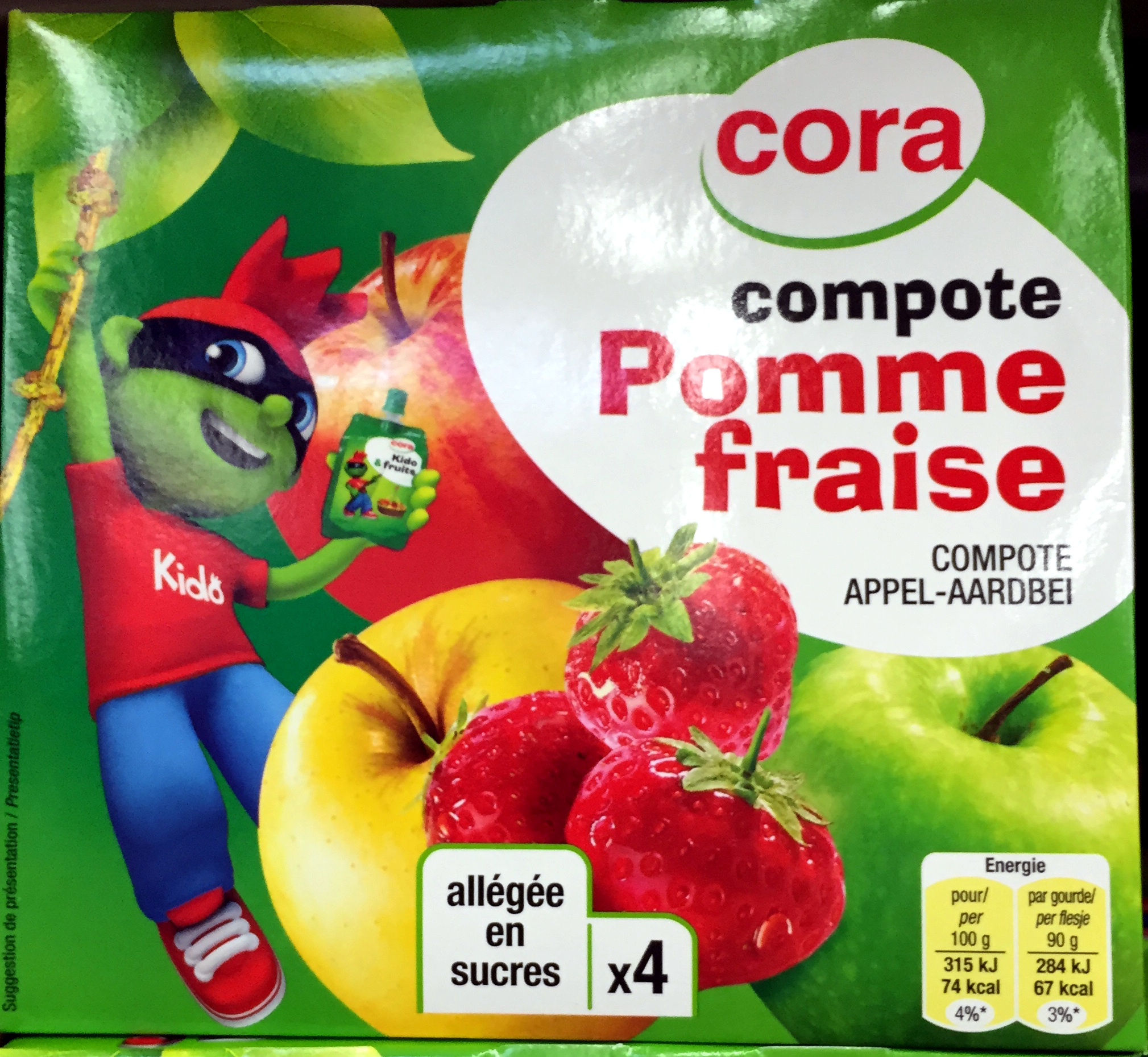 Compote Pomme fraise, allégée en sucres (x 4) - Produit - fr