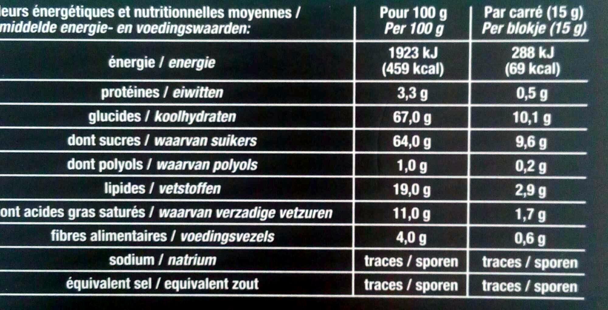 Chocolat noir menthe - Voedingswaarden - fr