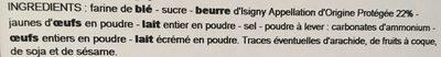 Sablés Normands au beurre d'Isigny AOP - Ingrédients - fr