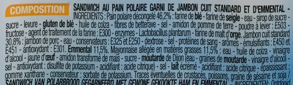 Jambon Emmental - Ingredients