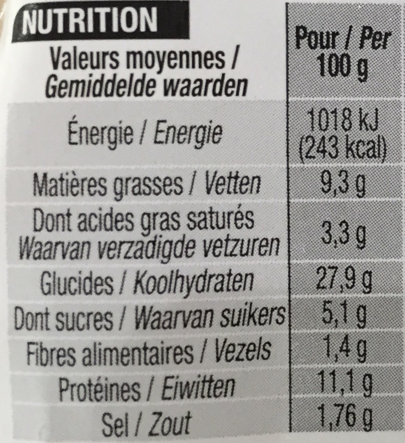 Jambon Emmental - Nutrition facts - fr