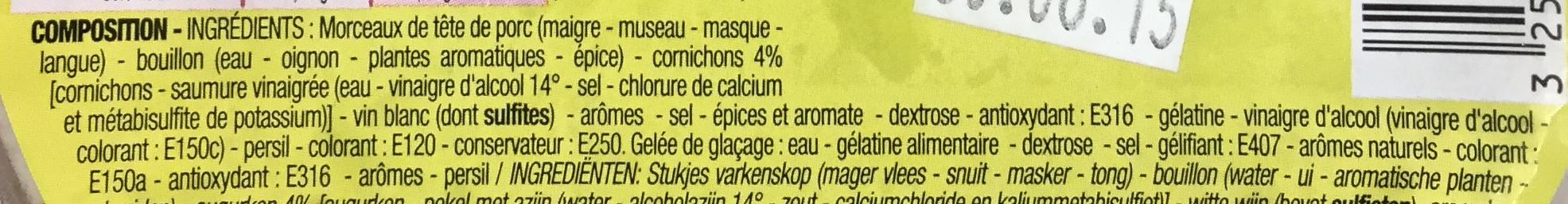Fromage de tête - Ingrédients - fr