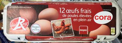 12 oeufs frais de poules élevées en plein air moyen - Product - fr