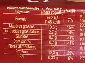 12 oeufs frais de poules élevées en plein air moyen - Nutrition facts - fr