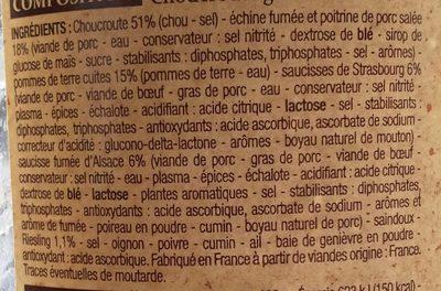 Choucroute Royale 1 Kilo - Ingrédients