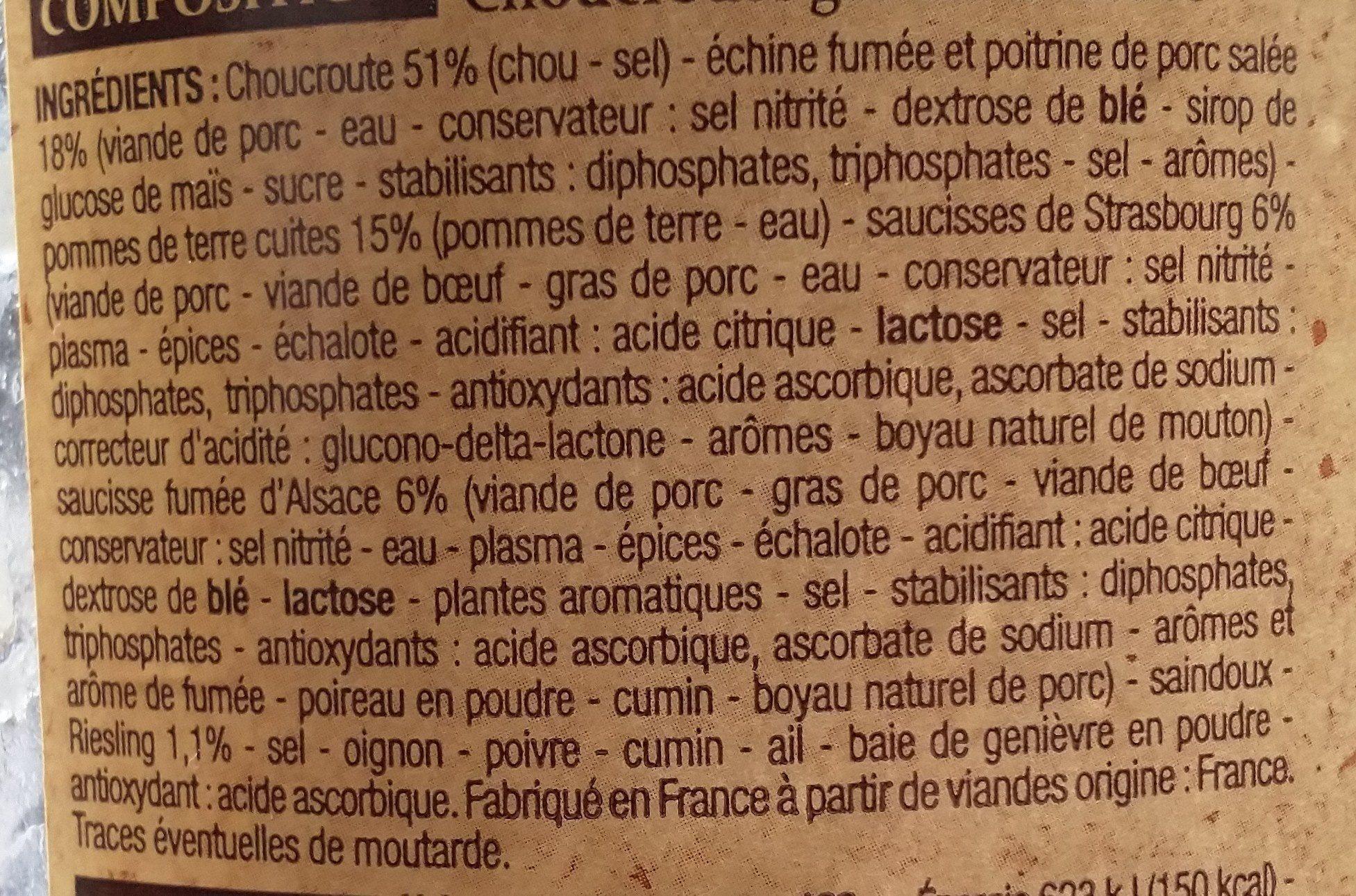 Choucroute Royale 1 Kilo - Ingrédients - fr