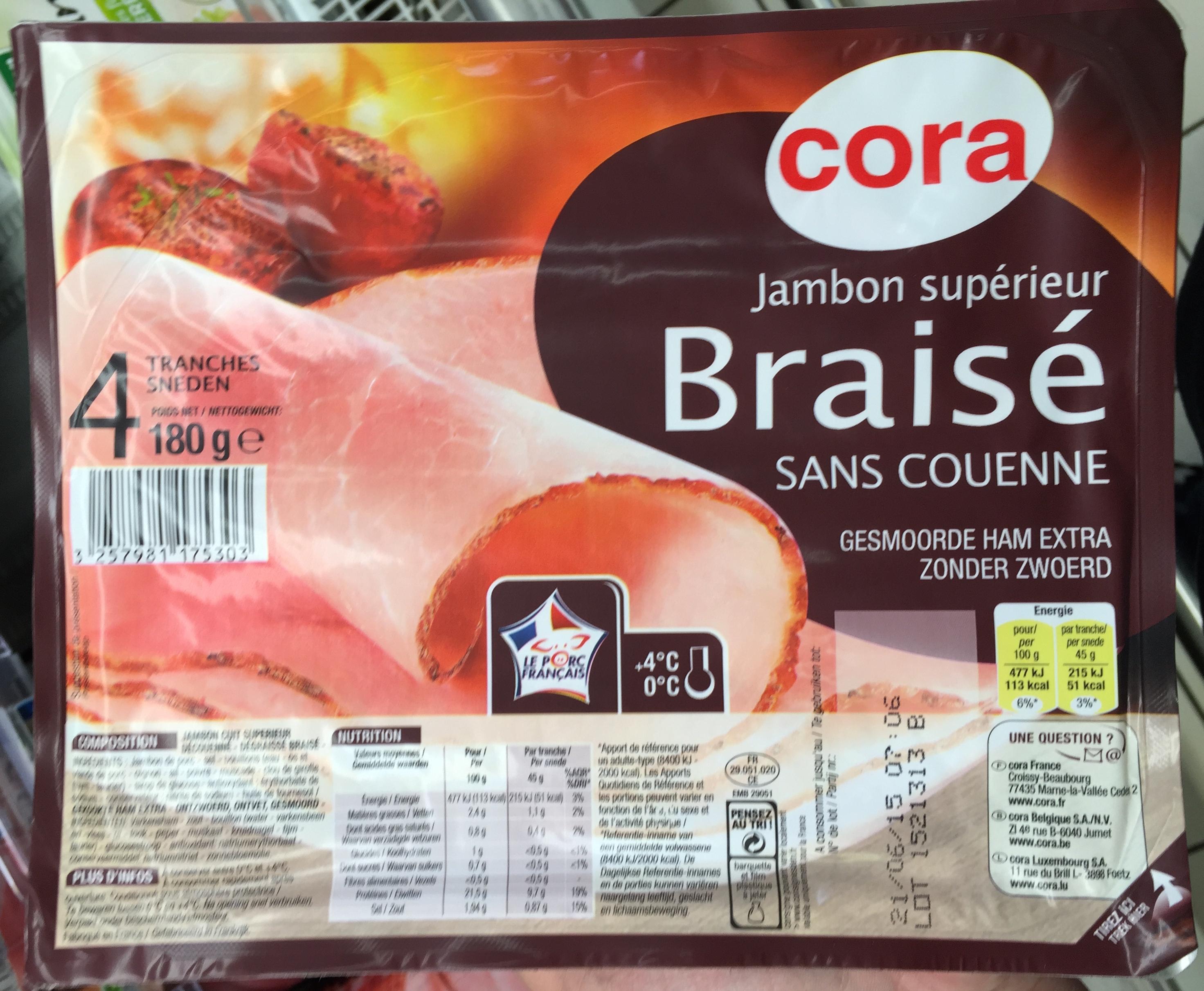 Jambon supérieur Braisé Sans Couenne (4 Tranches) - Produit