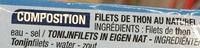 Filets de Thon au naturel - Ingrédients