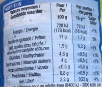 Sauce crudites nature allegee - Informations nutritionnelles - fr