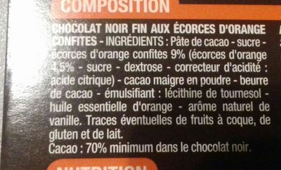 Chocolat noir écorces d'orange - Ingredients