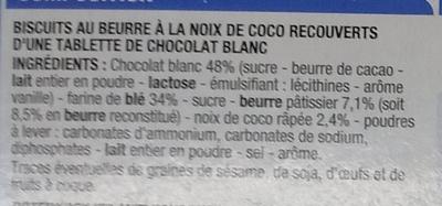 Petit beurre coco Chocolat blanc - Ingrédients