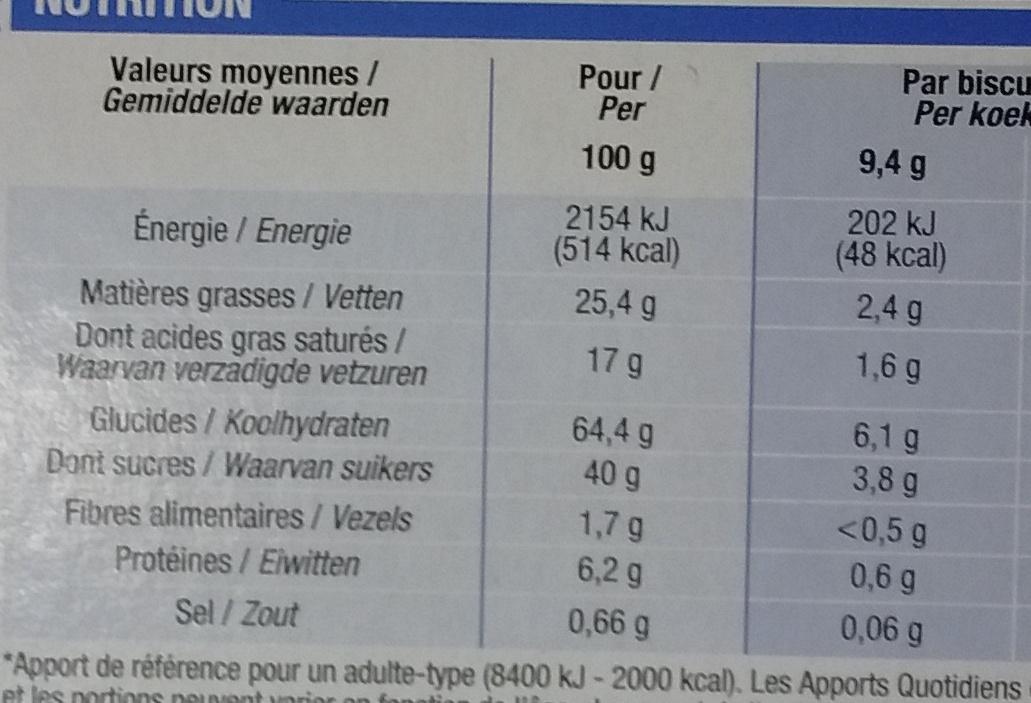 Petit beurre coco Chocolat blanc - Nutrition facts - fr