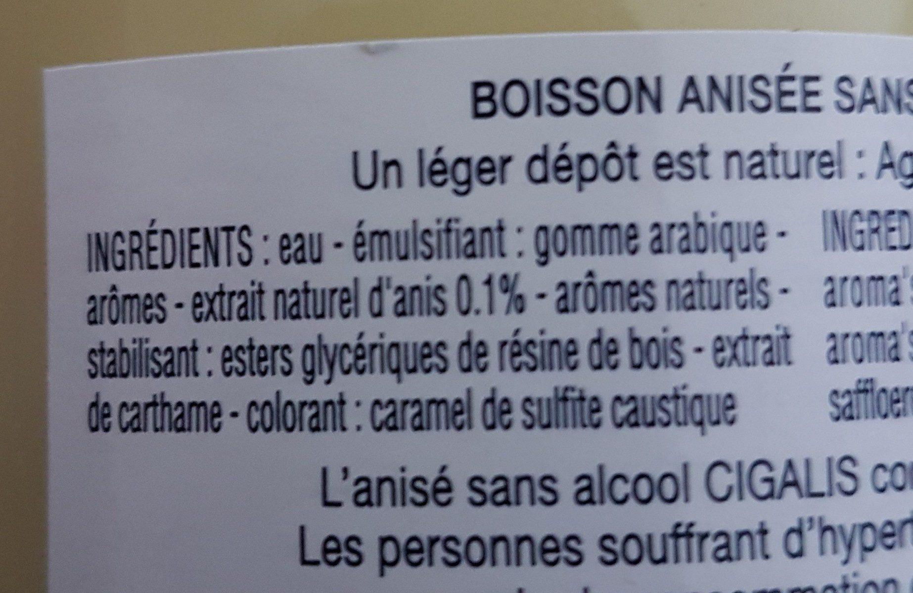 Anisé Sans Alcool - Ingrédients - fr