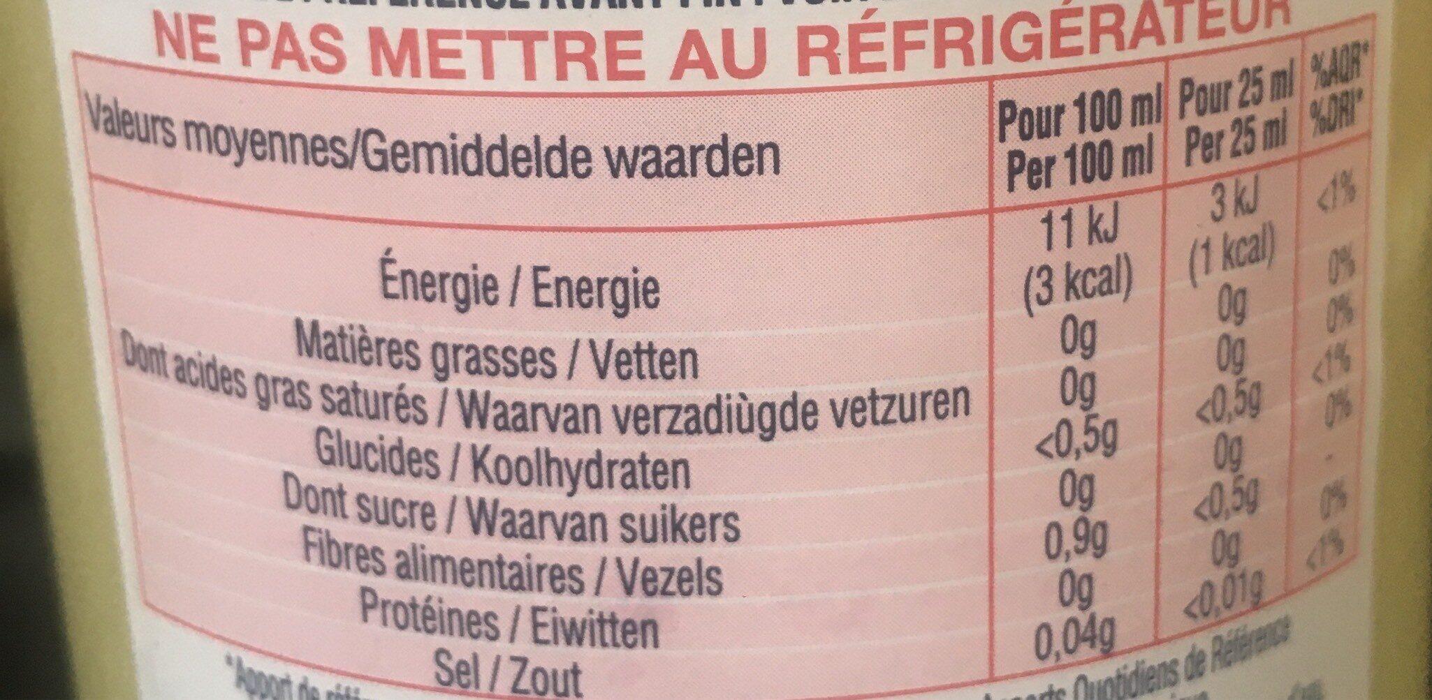 Anisé Sans Alcool - Informations nutritionnelles - fr