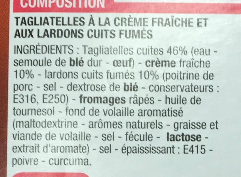 Tagliatelles carbonara à la crème fraîche - Ingrédients