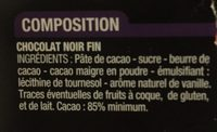Noir Dégustation 85% - Ingrediënten - fr
