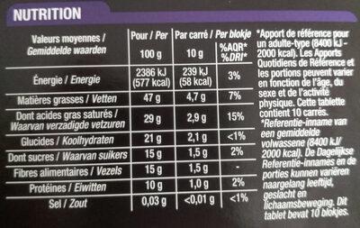 Noir Dégustation 85% - Voedingswaarden - fr