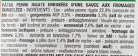 Pennes aux fromages, Surgelé - Ingrédients