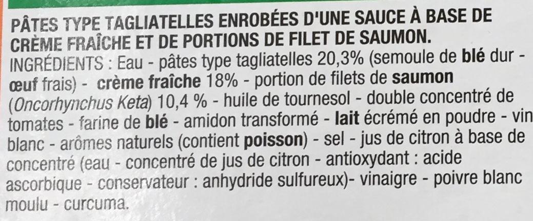 Tagliatelles saumon à la crème fraîche, Surgelé - Ingrédients