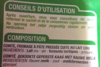 Comté AOP râpé (32% MG) - affinage 5 mois - Ingrédients - fr