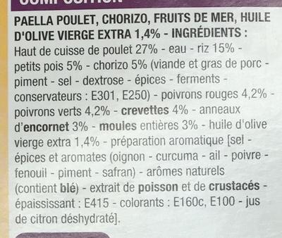 Paëlla Poulet, Chorizo, Fruits de mer, à l'huile d'olive vierge extra 1,4% - Ingrédients - fr