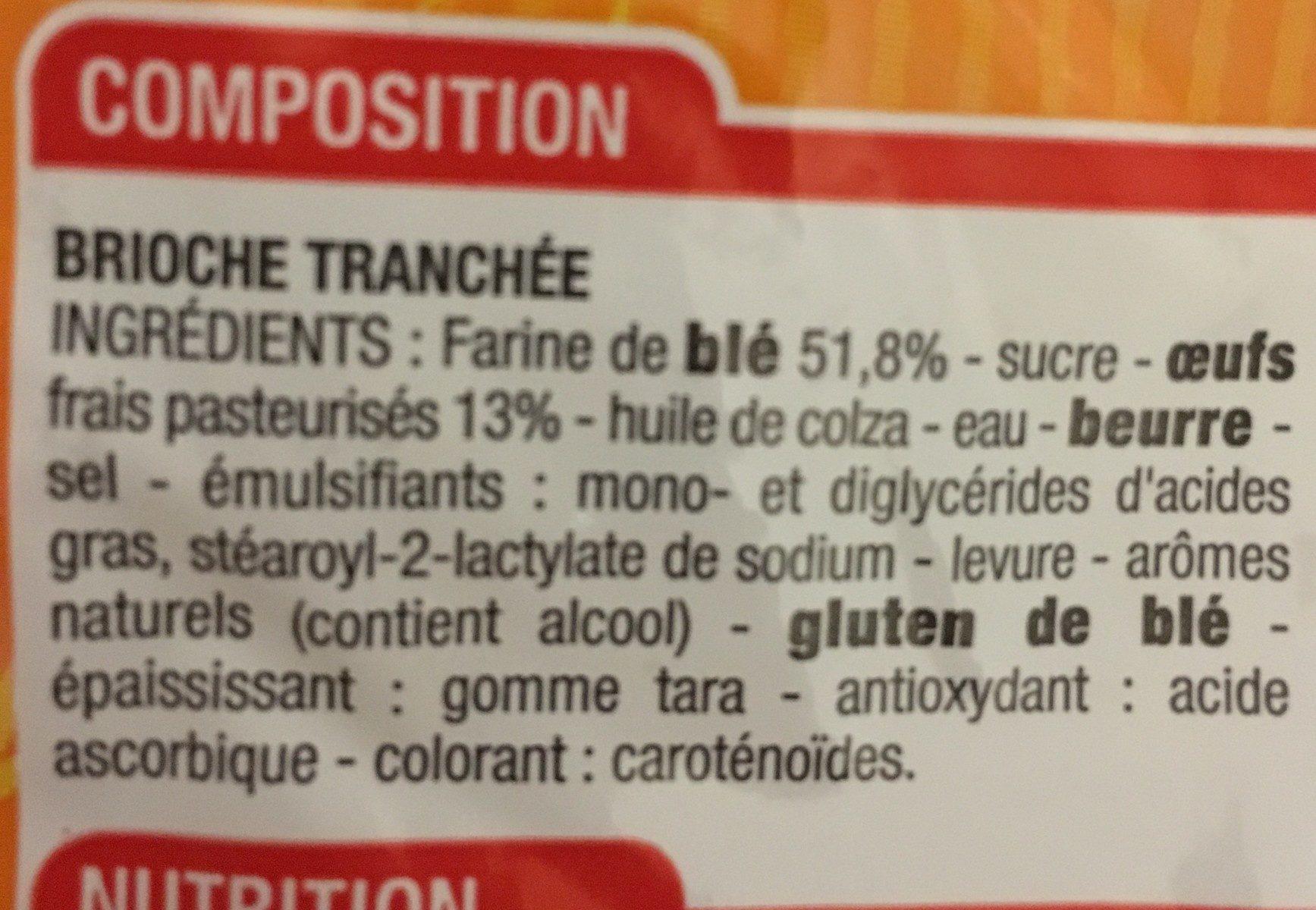 Brioche tranchée aux oeufs frais - Ingredients - fr