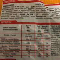 Brioche tranchée aux oeufs frais - Nutrition facts - fr